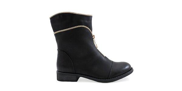 Dámske čierne topánky s ozdobným zipsom Ctogo Gogo