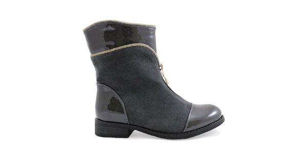 Dámske šedé topánky s ozdobným zipsom Ctogo Gogo