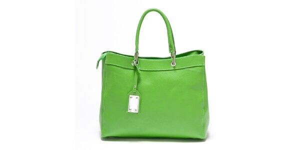 Dámska hráškovo zelená kožená kabelka Carla Ferreri