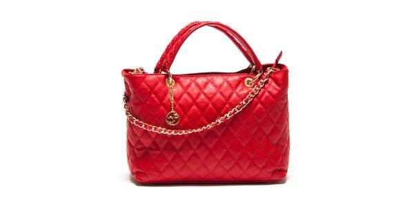 Dámska červená prešívaná kabelka Carla Ferreri