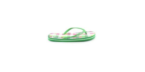 Dámske zeleno-biele kockované žabky Brunotti
