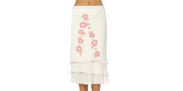 Dámska biela sukňa s ružovými kvetmi Squise