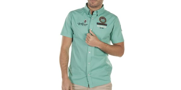Pánska tyrkysová košeľa s nášivkami na hrudi Bendorff