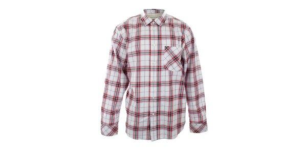 Pánska biela voľná košeľa s červenými pruhmi Big Star