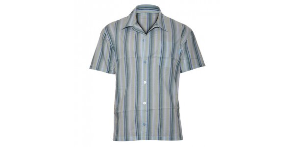 Pánska svetlo modrá prúžkovaná pyžamová košeľa Calvin Klein Underwear