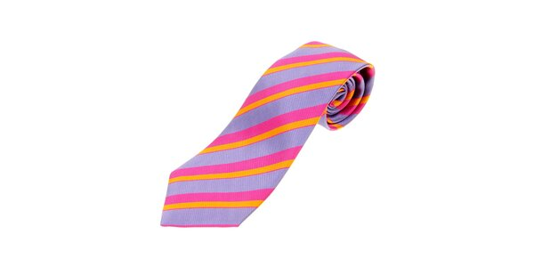 Pánska fialová prúžkovaná kravata Les Copains s ružovými a oranžovými prúžkami