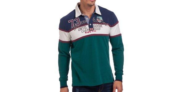 Pánske smaragdové polo tričko s pruhmi Galvanni