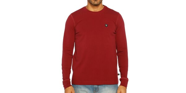 Pánske tmavo červené tričko s dlhým rukávom Galvanni
