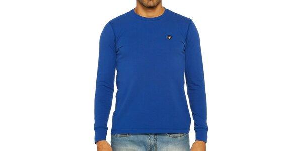 Pánske modré tričko s dlhým rukávom Galvanni