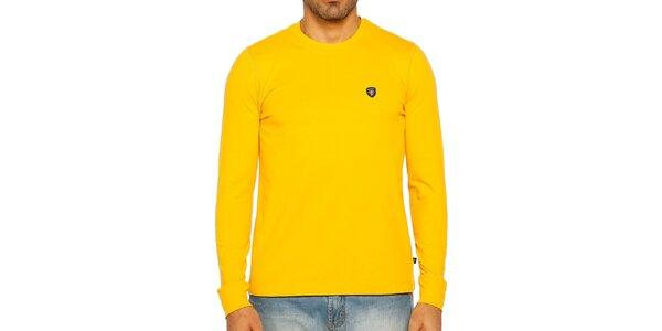 Pánske žlté tričko s dlhým rukávom Galvanni