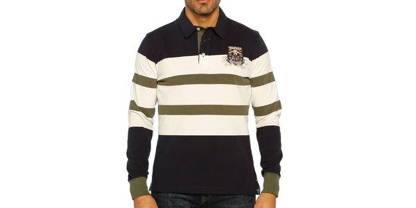 Pánske trojfarebne pruhované polo tričko s dlhým rukávom Galvanni