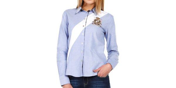 Dámska svetlo modrá košeľa s bielym pruhom Galvanni