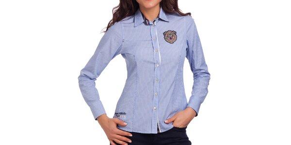 Dámska modrá košeľa so zvislými prúžkami Galvanni