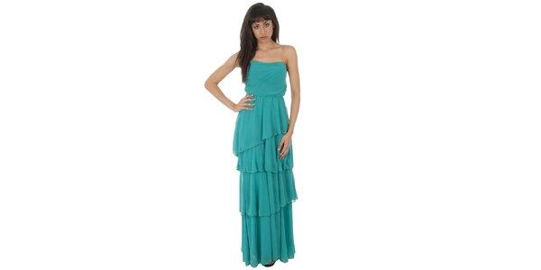 Dámske dlhé tyrkysové šaty Paola Pitti s volánmi