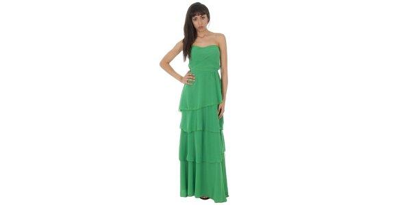 Dámske dlhé zelené šaty Paola Pitti s volánmi
