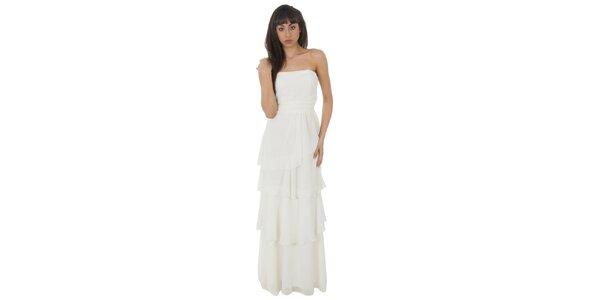 Dámske dlhé biele šaty Paola Pitti s volánmi