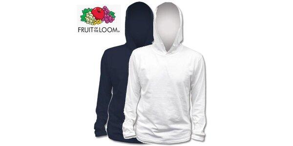Modré a biele tričko s kapucňou