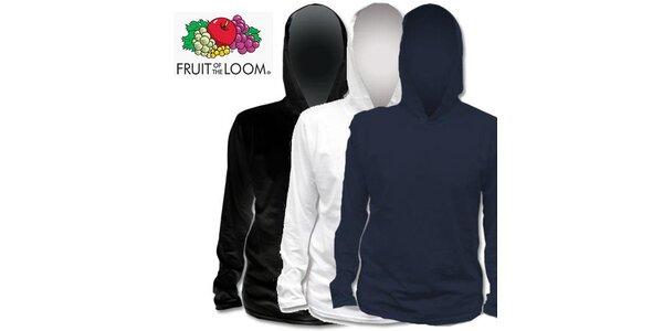 Čierne, biele a modré tričko s kapucňou