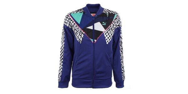 Dámska modrá bunda s farebnými vzormi Puma