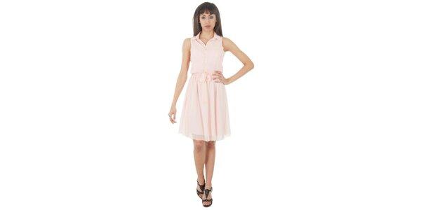 Dámske bledo ružové šaty s americkými prieramkami Paola Pitti