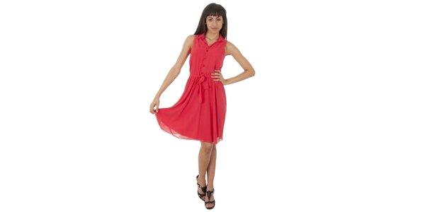 Dámske lososové šaty s americkými prieramkami Paola Pitti