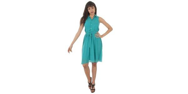 Dámske bledo tyrkysové šaty s americkými prieramkami Paola Pitti