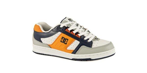 Biele kožené tenisky DC s modrými a oranžovými detailami