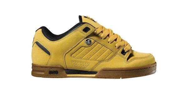 Pánske žlto hnedé kožené tenisky DVS