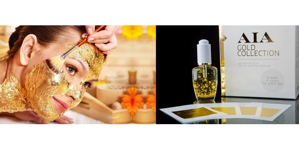 Luxusná omladzujúca sada: olej s 24 karátovým zlatom a zlaté plátky s výrazným…