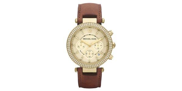 Dámske pozlátené hodinky s hnedým remienkom Michael Kors