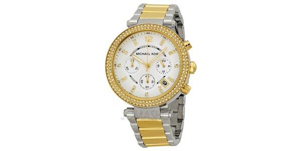 Dámske hodinky s bielymi kamienkami a zlatými prvkami Michael Kors