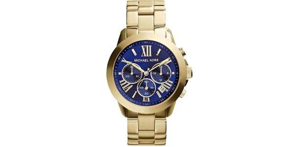 Dámske pozlátené hodinky s tmavomodrým cfierníkom Michael Kors