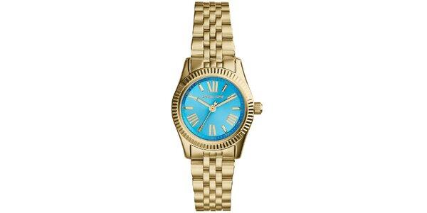 Dámske hodinky s modrým ciferníkom a rímskymi číslami Michael Kors - zlatá farba