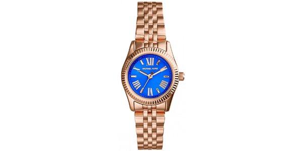 Dámske hodinky s modrým ciferníkom a rímskymi číslami Michael Kors - ružovo…