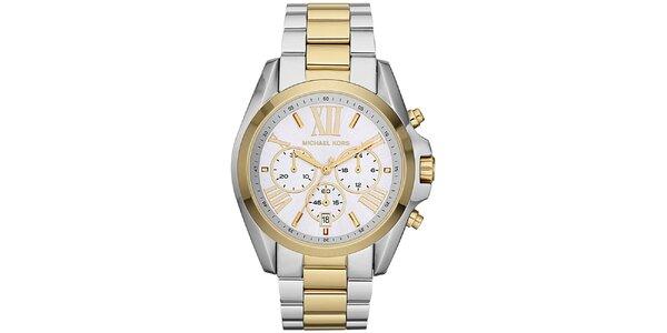 Dámske hodinky s chronografom Michael Kors - strieborná a zlatá farba