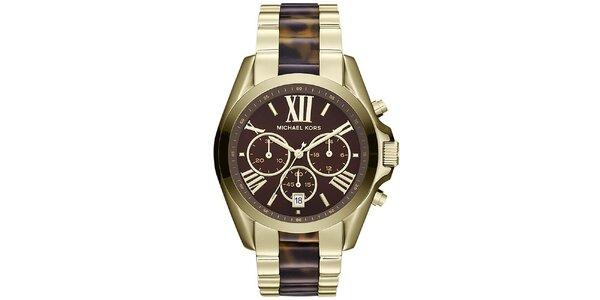 Dámske pozlátené hodinky s hnedými prvkami Michael Kors