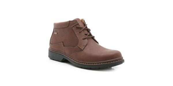 Pánske hnedé členkové kožené topánky Clarks