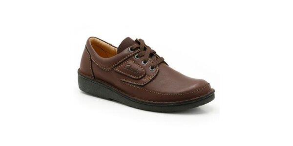 Pánske prešívané hnedé topánky Clarks