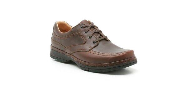 Pánske hnedé kožené topánky so šnurovaním Clarks