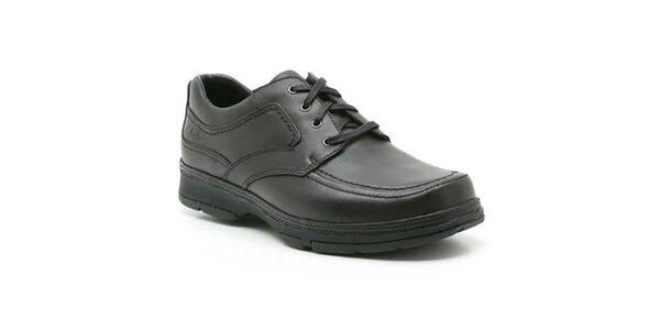 Pánske čierne kožené topánky so šnurovaním Clarks
