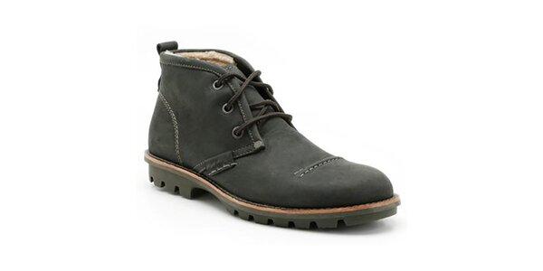 Pánske čierne členkové topánky so šnurovaním Clarks