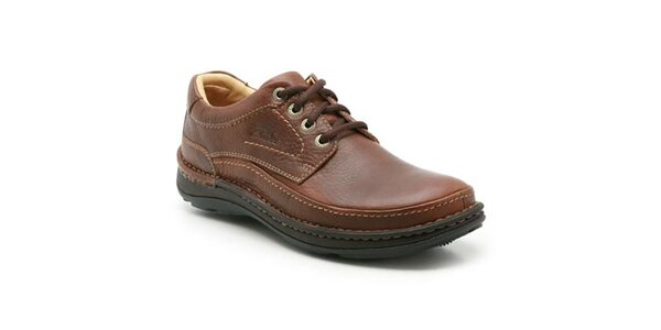 Pánske hnedé topánky s prešívaním Clarks