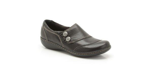 Dámske čierne kožené topánky s prešívaním Clarks