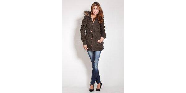 Dámska khaki zimná kabát Lois s kožúškom