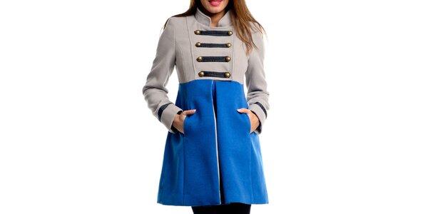 Dámsky béžovo-modrý vojenský kabát Vera Ravenna