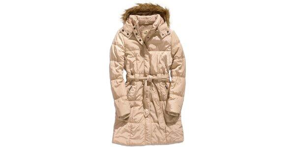 Dámsky béžový kabát s kapucňou Timeout