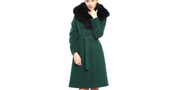 Dámsky tmavo zelený kabát s veľkým čiernym golierom Vera Ravenna 0fc206afb90