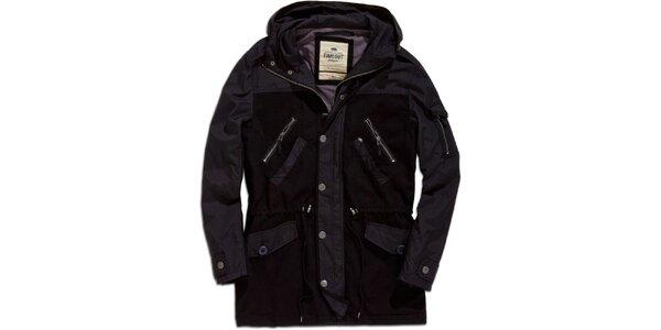 Pánsky čierny krátky kabát s kapucňou Timeout