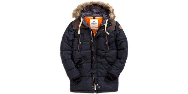 Pánsky krátky prešívaný kabát v čiernej farbe s kožúškom Timeout