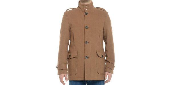 Pánsky svetlo hnedý kabát s gombíkmi Vera Ravenna